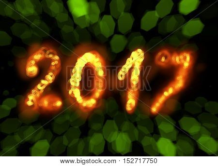 Happy new year 2017 isolated numbers written with flame fire sparkle light on black blurred bokeh background frame.
