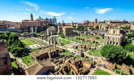 Panoramic view over the ruins of the Roman Forum with the Vittoriano in the background in Rome Italy