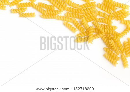 Fusilli Frame. Pasta over a white background