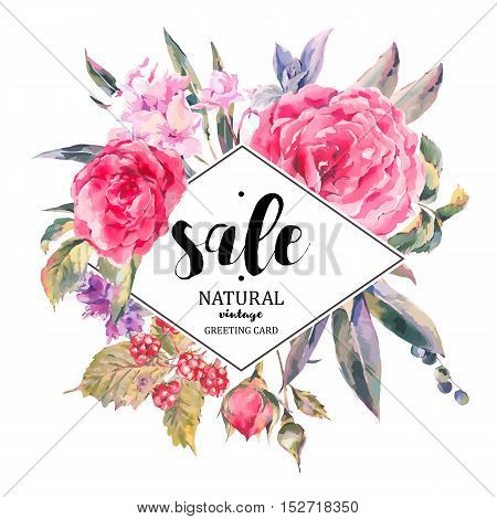 Classical vintage floral sale card, natural bouquet of roses, stachys, thistles, blackberries and wildflowers, botanical vector natural illustration