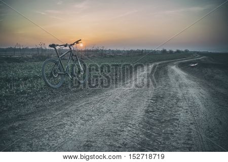 sport bike near rural road, toned like Instagram filter