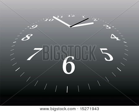Illustration of a clock that is disappearing into the distance