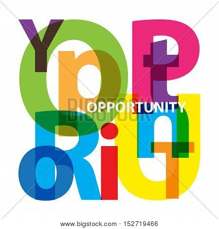 Vector opportunity. Isolated confused broken colorful text