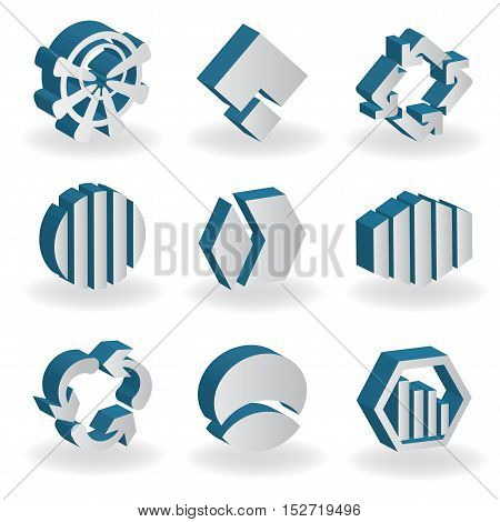 Vector set of 3D symbols - silver abctract icons
