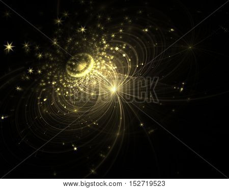 abstract yellow Galaxy with stars lines and curved shapes on black background.