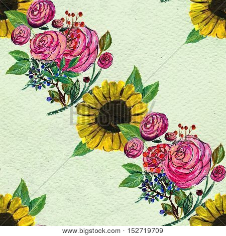 Seamless pattern with sunflowers and pink rose garlands. Floral watercolor background.