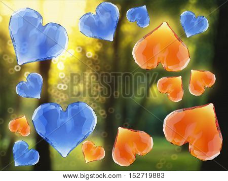 Red and blue gem hearts flying on green fresh forest background. Geometric rumpled triangular low poly style graphic 3d render illustration.