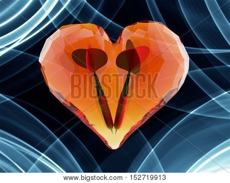 Red gem heart isolated on dark background with two darts inside . Geometric rumpled triangular low poly style graphic 3d render illustration. Raster polygonal design for your business.