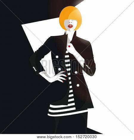 Fashion girl in style pop art. Vector illustration