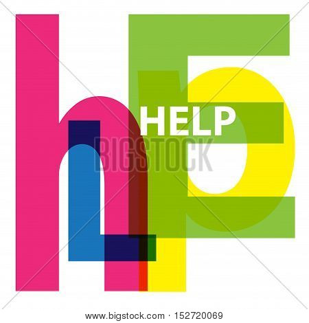 Vector Help. Isolated confused broken colorful text