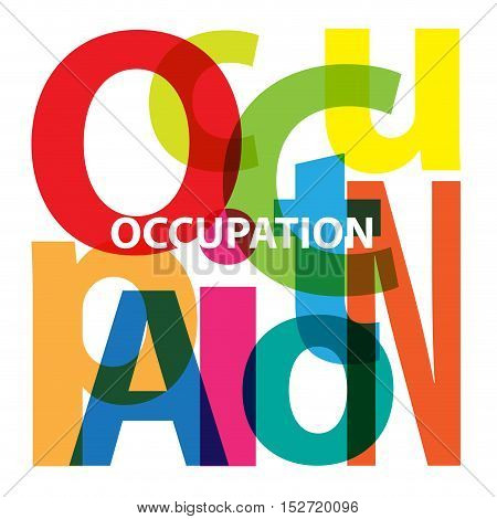 Vector Occupation. Isolated confused broken colorful text