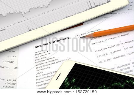 income statement, trading online chart, exchange money