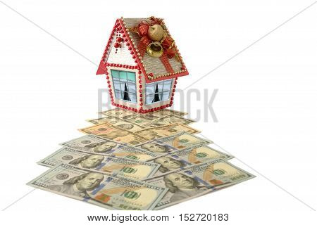 Dollar trail to house isolated over white