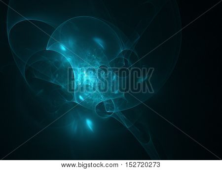 glowing blue curved lines over dark Abstract Background space universe. Illustration.