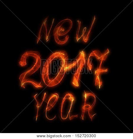 Happy new year 2017 isolated text and numbers written with flame light on black background.