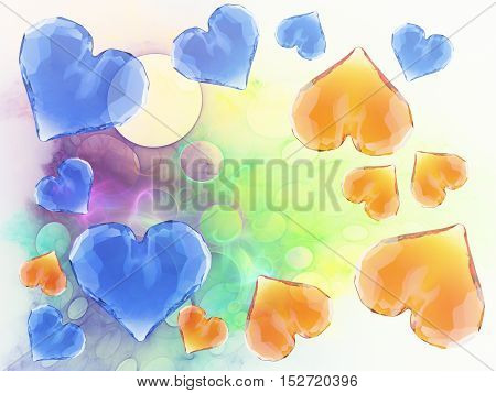 Red and blude gem hearts isolated on bright abstract background. Geometric rumpled triangular low poly style graphic 3d render illustration. Raster polygonal design for your business.