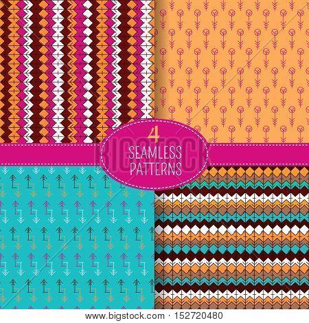 Set of 4 ethnic seamless patterns. Tribal geometric background. Ethno design. Modern abstract wallpaper. Vector illustration.
