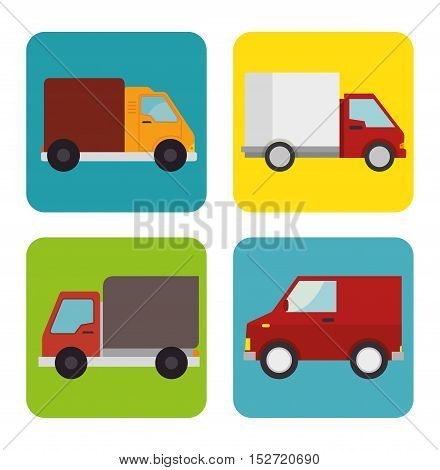 collection trucks delivery icons design vector illustration