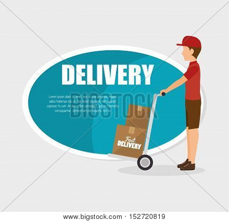 man courier delivery cardboard boxes vector illustration