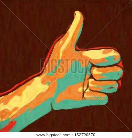 abstract art painted hand showing thumbs up symbol on dark background illustration.