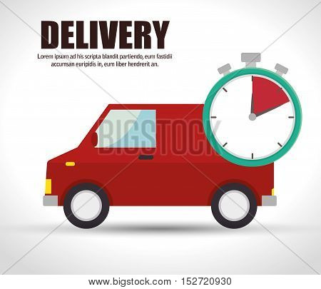 truck delivery time red van icon vector illustration