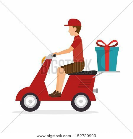 man ride scooter delivery gift icon vector illustration