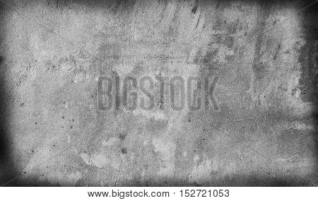 Grey wall texture background with frame. Old concrete wall.