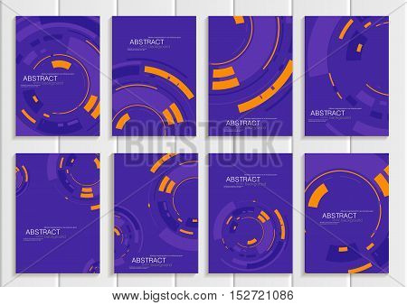 Stock vector set of brochures in abstract style. Design business templates with yellow round, rectangular shapes on purple background for printed materials, elements, web sites, card, cover, wallpaper