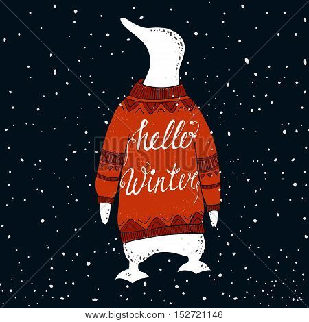Concept winter illustration with cute penguin. Vector background. Hand drawn phrase - Hello Winter. Perfect for T shirt cup holiday card print.