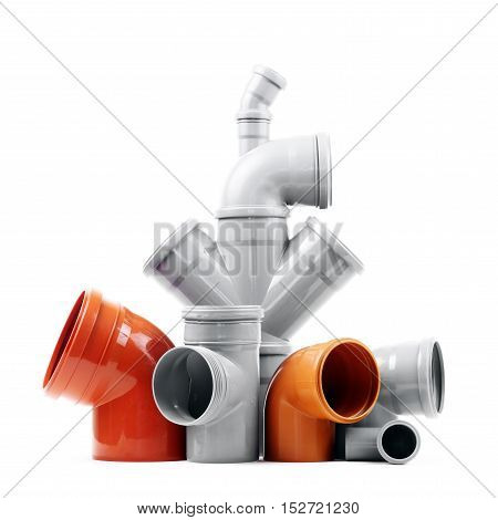New gray and brown drain pipes isolated over white