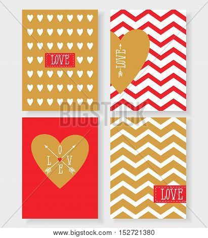 Set of the cards for your design. Love. Cards for the holiday. Valentine's Day. Vector illustration gold and red