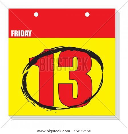 An illustration of a flip calendar showing friday the 13th