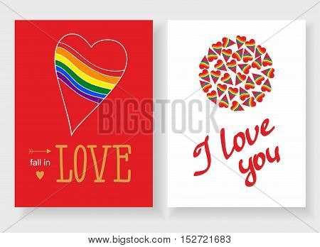Set of cards for your design. Love. Cards for the holiday. Valentine's Day. Vector illustration. Rainbow hearts