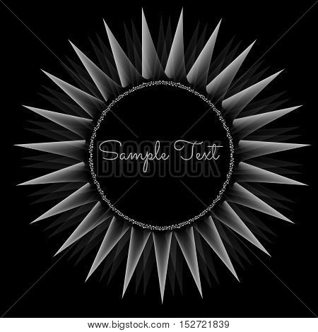 abstract flower with diamonds on a black background