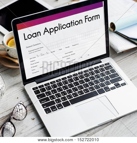 Loan Financial Application Form Concept