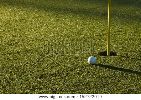Golf Ball on Green at Sunrise