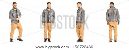 Young Stylish Man In A Jeans Jacket Isolated On White