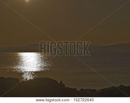 dawn on the beach side of the sea morning at leisure in Crete