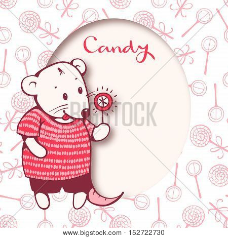 Illustration of cartoon mouse with candy. Hand-drawn illustration. Vector.