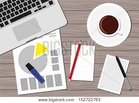 Flat Style Contemporary Design. Top view of the office workplace. Icon of a laptop keyboard, coffee cup, pencil, papers