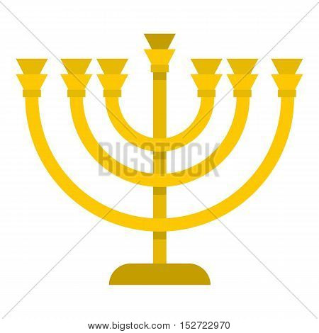 Jewish Menorah with candles icon. Flat illustration of menorah vector icon for web design