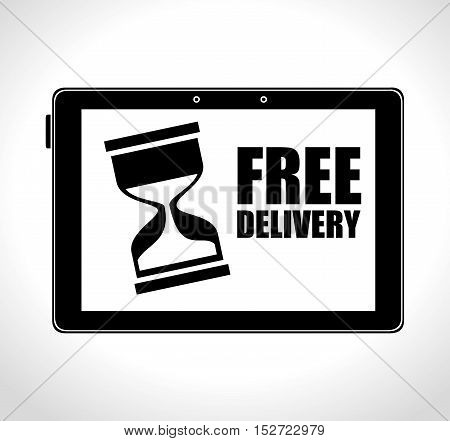 e-commerce free delivery digital technology vector illustration