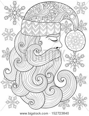 Vector zentangle Santa Claus for adult antistress coloring pages. Hand drawn illustration for New Year 2017, Christmas greeting cards, posters, invitation. A4 size. Eps10.