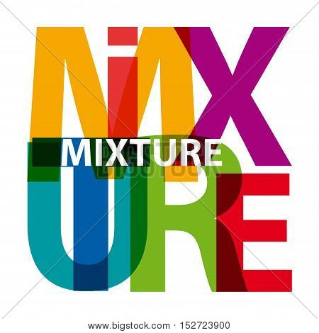 Vector mixture. Isolated confused broken colorful text