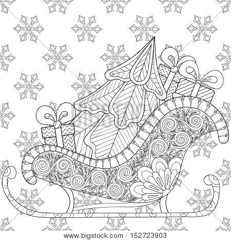 Christmas sledges of Santa with Christmas tree, gifts on snowflakes seamless pattern, for adult anti stress coloring pages, art therapy, tattoo. Vector illustration on white background. Hand drawn sketch.