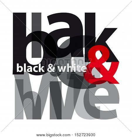 Vector black and white. Isolated confused broken colorful text
