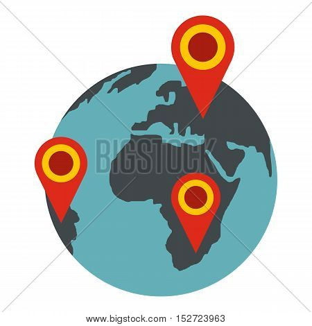 Globe earth with pointer marks icon. Flat illustration of globe vector icon for web design