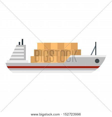 Cargo ship icon. Flat illustration of cargo ship vector icon for web design