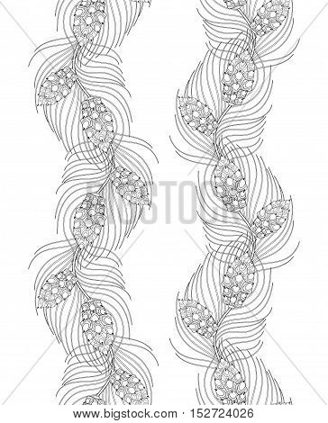 Zentangle fir-tree, needles, pine branch seamless pattern, frame for Christmas adult coloring books, greeting cards. Hand drawn Vector illustration isolated on white background.