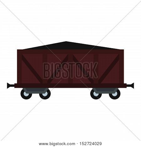 Cargo wagon icon. Flat illustration of wagon vector icon for web design